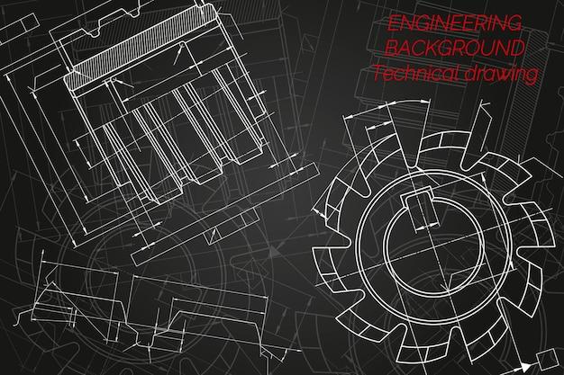 Dessins d'ingénierie mécanique sur fond noir outils de coupe fraise conception technique co ...
