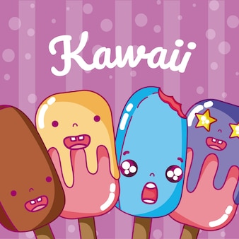 Dessins de kawaii mignon crème glacée