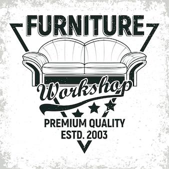 Dessins de logo d'atelier de meubles vintage