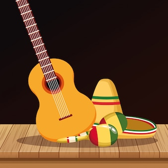 Dessins mexicains de chapeau et de guitare