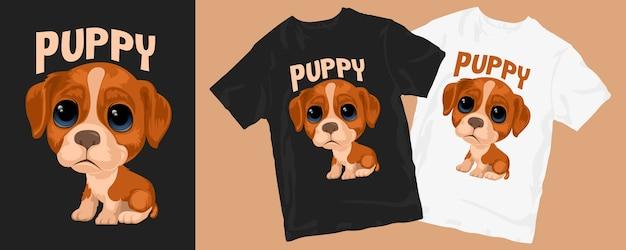 Dessins mignons de t-shirt de chien de chiot drôle