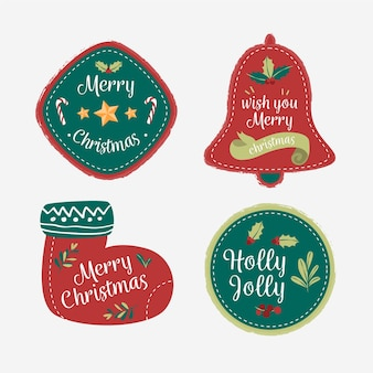 Dessins de noël pour la collection de badges et de logos