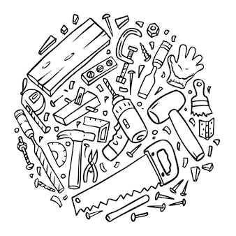 Dessins d'outils de menuiserie assemblés, style doodle