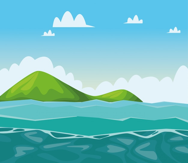 Dessins de paysages de mer et de montagne