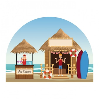 Dessins de plage et kiosques
