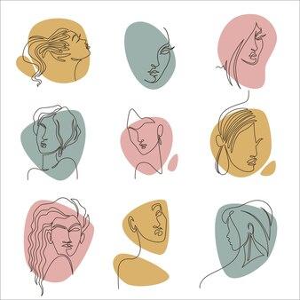 Dessins de portraits de femmes, icônes isolées de personnages féminins, filles élégantes