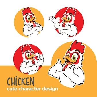 Dessins de poulet mascotte ou caractère autocollant
