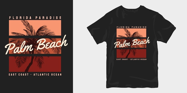 Dessins de t-shirt vintage palm beach florida paradise