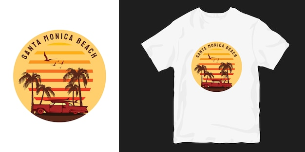 Dessins de t-shirt vintage sunset santa monica beach
