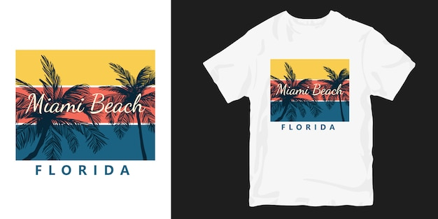 Dessins de t-shirts sunset miami beach en floride