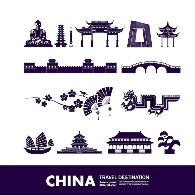 Destination de voyage en chine, illustration