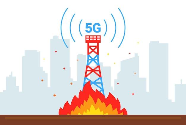 La destruction de la tour 5g. mettre le feu à des équipements internet. illustration vectorielle plane.