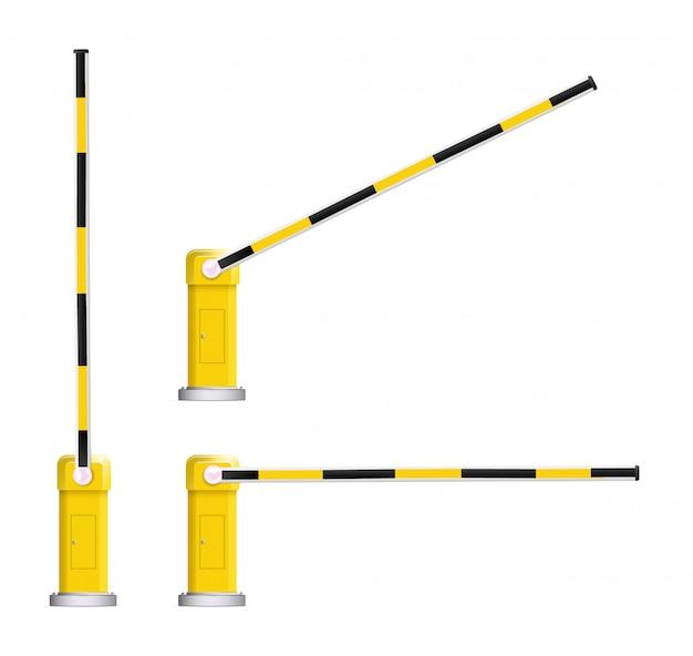 Détail d'une barrière de voiture à rayures noires et jaunes avec panneau d'arrêt.