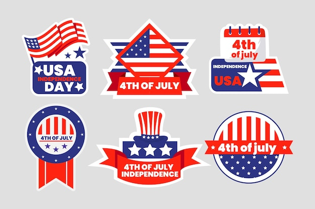Détaillée du 4 juillet - collection d'étiquettes de la fête de l'indépendance