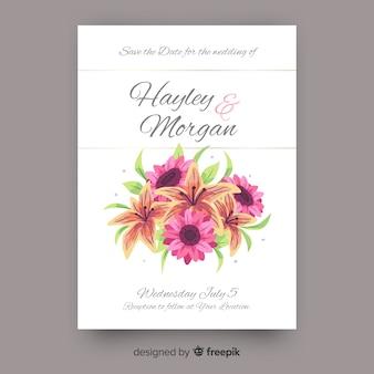 Détails floraux de modèle d'invitation de mariage