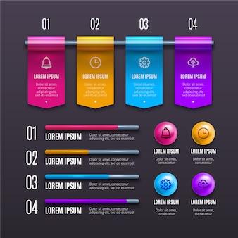 Détails infographiques brillants 3d créatifs