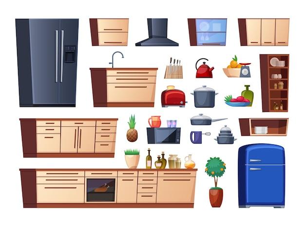 Détails de l'intérieur de la cuisine isolés sur fond blanc