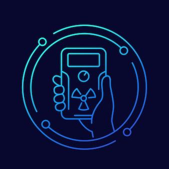 Détecteur de rayonnement dans l'icône de la ligne de main, vecteur
