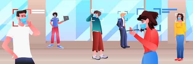Détection Et Identification Des Hommes D'affaires Dans Les Masques Système De Reconnaissance Faciale Ai Analyser Le Concept De Big Data Illustration Horizontale Vecteur Premium