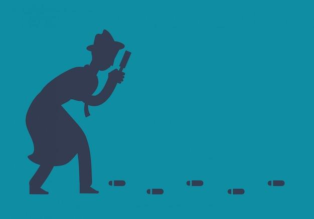 Un détective enquêteur mystérieux suit une illustration d'empreintes de pas