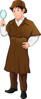 Détective garçon posant tenant une loupe