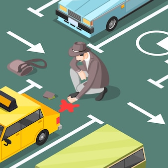 Détective sur les lieux d'un crime dans un parking