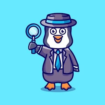 Détective mignon de pingouin portant une loupe