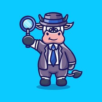 Détective mignon de vache portant une loupe