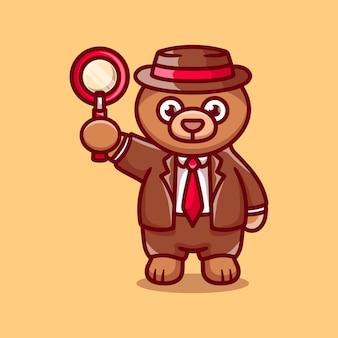 Détective ours mignon portant une loupe