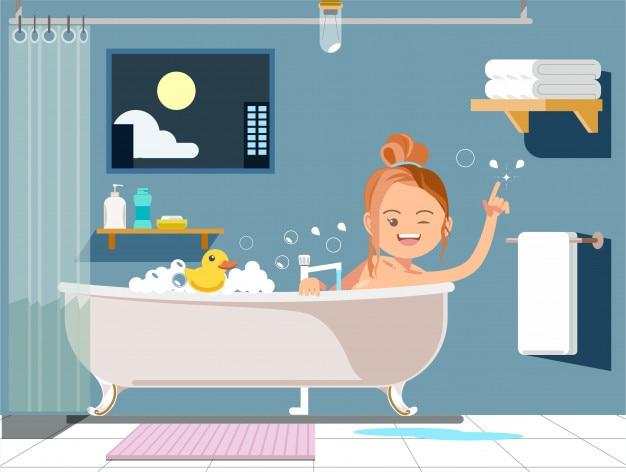 Détendez-vous dans le bain dans leur propre maison