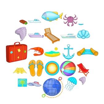Détendez-vous sur le jeu d'icônes de navire. ensemble de dessin animé de 25 se détendre sur les icônes du navire