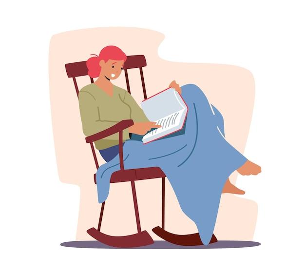 Détendu, jeune femme, séance, sur, confortable, chaise roulante en bois, ou, fauteuil, chez soi, lecture livre intéressant