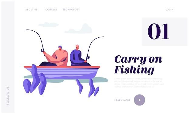 Détente hommes de pêche en bateau sur le lac. modèle de page de destination