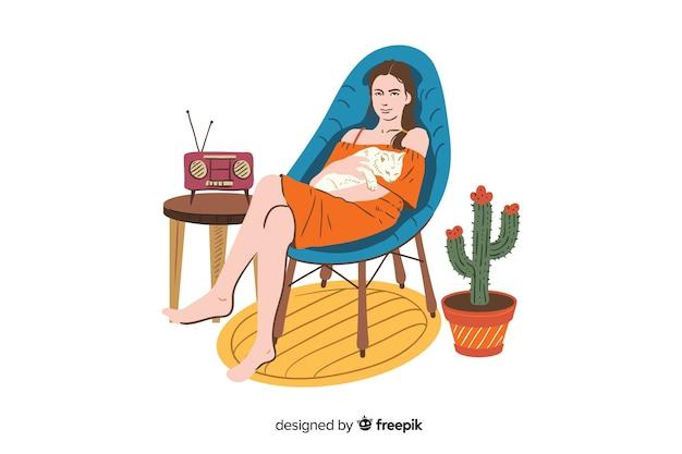Détente à la maison concept illustration