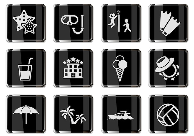 Détente sur les pictogrammes de plage en boutons chromés noirs. jeu d'icônes pour votre conception. icônes vectorielles