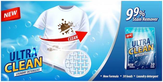 Détergent à lessive, modèle d'annonce détachant. affiche publicitaire sur fond bleu avec t-shirt blanc et taches