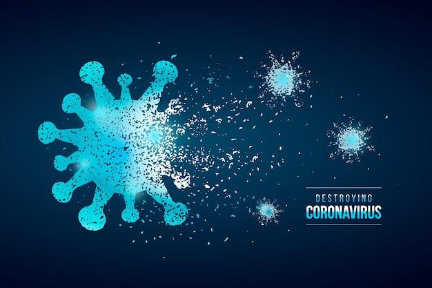Détruire le style de fond du coronavirus