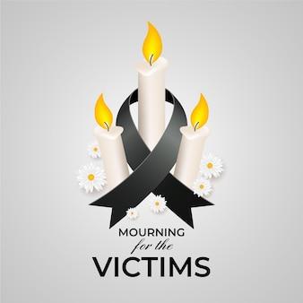 Deuil des victimes avec des bougies
