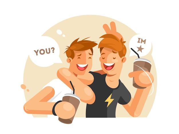 Deux amis s'amusant. les gars avec du café communiquent. illustration