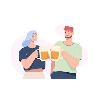 Deux amis se réunissant et buvant de la bière ensemble dans un design plat