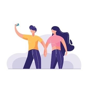 Deux amis souriants prenant une illustration de selfie