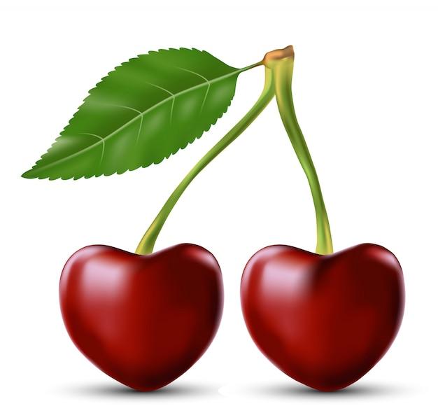 Deux amoureux cerise comme coeur