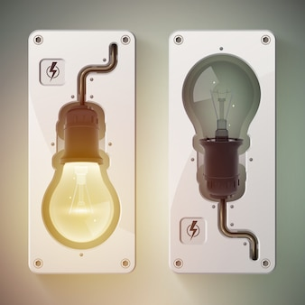 Deux ampoules isolées réalistes avec lumière allumée et lumière éteinte