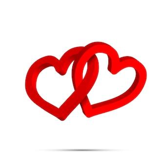 Deux anneaux en forme de coeur croisé rouge vif sur blanc