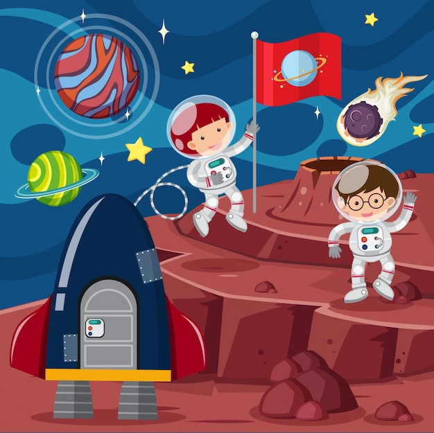 Deux astronautes et une fusée sur la planète
