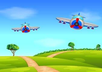 Deux avion aérien survolant le champ