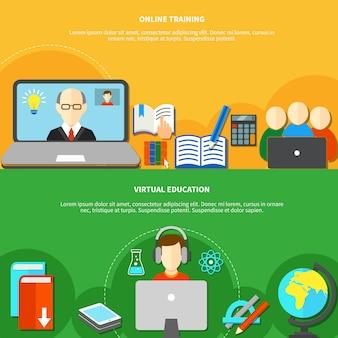 Deux bannières d'apprentissage en ligne