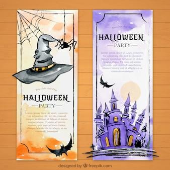 Deux bannières avec des aquarelles pour halloween