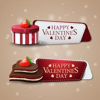 Deux bannières de bienvenue pour la saint-valentin avec des chocolats et un cadeau