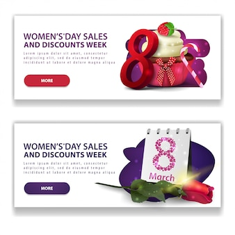 Deux bannières blanches à prix réduits pour la journée de la femme avec boutons, cupcake et rose